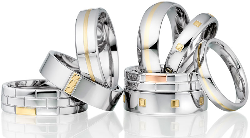 2 colour wedding rings