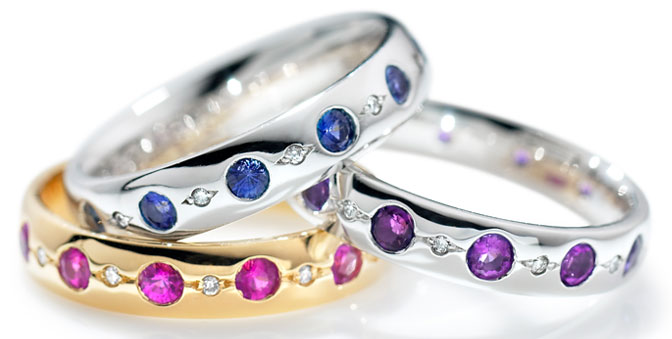 coloured diamond eternity rings